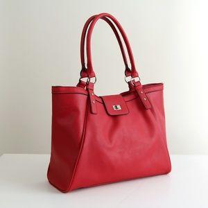 Handbags - Red Vegan Leather Tote Bag Large